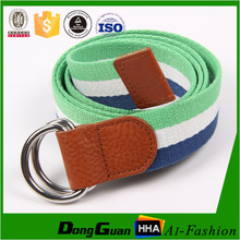 New style high quality canvas belt with double D ring buckl