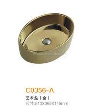 Golden porcelain sink Undertaking project Hotel Project bathroom sink OEM