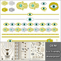 New Arrival 1 Sheet Gold Silver Blue Temporary Metallic Tattoo Jewel Inspired Fashion Evil Eye Chain Bracelet YS054