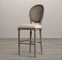 Italian antique restaurant furniture oval back wooden bar stool high chair