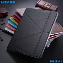 LETSVIEW Alibaba Hot Selling Genuine PU Leather Transparent TPU Ultra Soft Back Cover Tablet Case for iPad 5(10 different Color)