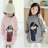Casual hoodies for girls long sleeve pirates printing solid pink 5pcs/lot