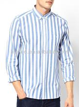 2015 lastest fashion 100% cotton stripe wholesale men shirts