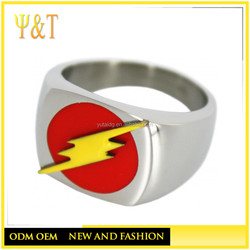 Factory direct flash logo stainless steel jewelry main material flash man stainless steel rings (HZ-016)