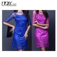 sexy lace embriodery dress evening formal dresses blue