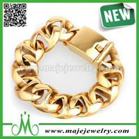 European broad rock and roll bracelet gold color jewelry