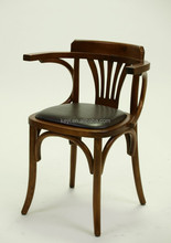 Hot sell Antique wooden Arm dining chair/ Restaurant chair with Leather seat(ZD-136)