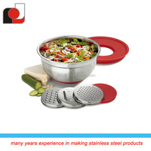 High Quality Stainless Steel Mixing Bowl with 3pcs Grater