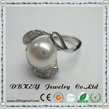 Fashion fresh water pearl ring not fade silver micro personality