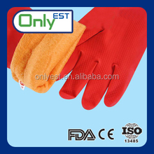 Manufacturer of dirt resistant red color keep warm spray flocklined household glove