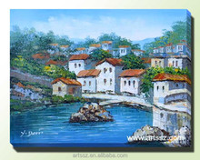 2015 new handmade glass painting natural scenery village scenery painting
