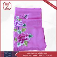 Hechos a mano puro bordado bufanda de seda de flores arte del regalo navidad