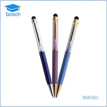 Office supplies crystal touch metal ball point pen for smart phone
