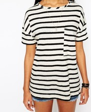 women crew neck black and white stripe t-shirt with pocket to chest