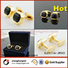 Wholesale Gold plated stainless steel cufflink with black crystal