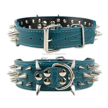 2 Inch Green Spiked Studded Rivets Leather Dog Pet Collars