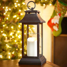 Home decoration table stand metal candle lanterns panel glass