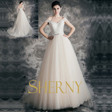 Sherny Bridals 2015 alibaba lace off-shoulder backless ball gown see through back long tail Wedding Dresses made in China