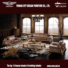 Hot sell rustic thick leather wooden sofa set designs