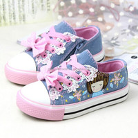 Cute Cartoon Design Kids Canvas Shoes With Bowknot