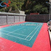 Anti-bacterial Standard badminton court interlocking plastic floor tiles