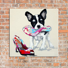 Handmade Popular Modern Happy Dog Animals On Canvas Pictures Oil Painting