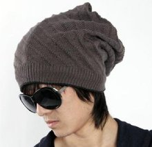 100% Acrylic Mens' Solid Knitted Fashion Hat