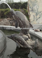 Best design black granite carving dolphin fountain prices
