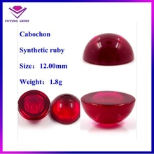Flat Synthetic 5# Ruby Cabochon Cutting 12mm Round Shape Gemstone