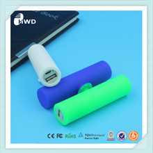 environmental friendly silicone USB 2.0 power bank 2600mah portable 18650 power bank battery charge for smart phone