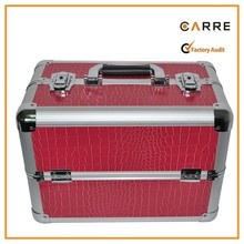 crocodile PVC panel aluminum makeup beauty cosmetic train case