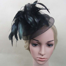 Hair Clip Headwear Black Feather Big Fascinator Hat Wholesale