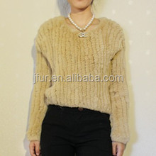 2015 European Style Knitted Winter Genuine Rabbit Fur Coat For Lady Fashion