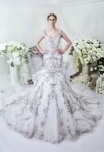 Luxury design wedding dresses 2015 RW1520 crystal heavy beaded bodice mermaid wedding dress made in china