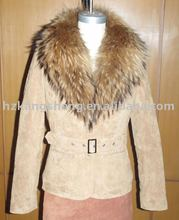 2012 LADIES FASHION SOFT PIG SUEDE LEATHER JACKET WITH GENUINE FUR COLLAR,LEATHER JACKET,LEATHER GARMENT,LEATHER COAT