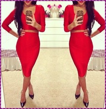 two pieces fitted sexy elegant long sleeve red evening dress
