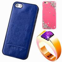 5s Genuine Leather phone Cases For apple original LOGO diamond Rhinestone back cover for iPhone 5 plastic Crystal bling celular