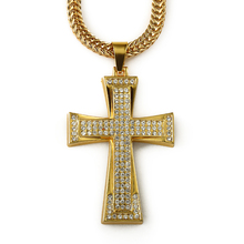 2015 new product hip hop men bling bling micro pave gold cross pendant necklace for present