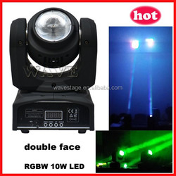 ( WLEDM-13-1) new double face 10w rgbw sharpy quad- head led moving beam
