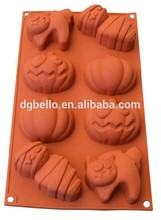 Halloween Design FDA&LFGB Approved Angry Pumpkin Lantern and Zombie Silicone Cake Mold