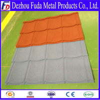 Sand coated metal roof tile building material
