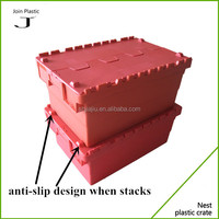 Red plastic box for storage clothes