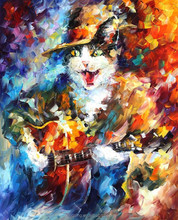 High quality handmade impressionist palette knife oil painting of animal, Cat oil paintings 44371
