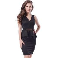 Wholesale elegant lady deep v neck sexy short peplum dress