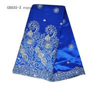 royal blue raw silk george fabric