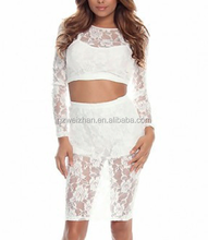 High Quality Two Pieces Through Look Long Sleeve Lace Bandage Dress Sexy Women