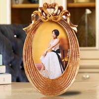 "2015 oval shape photo frame golden high quality new arrival adjustable 3d effect home decor china custom photo frames 4""x6"""