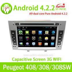 Android Car Radio 2 din for Peugeot 308/408 Car GPS Navigation with GPS 3G Wifi