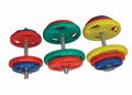 Equipo de levantamiento de pesas mancuernas de goma para ventas calientes / accesorios de equipos de fitness de goma recubiertos mancuerna
