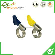 a variety color of butterfly type hose clamp